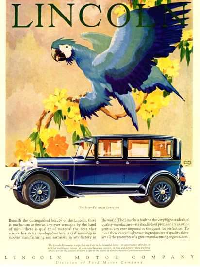Lincoln Motor Company 1928 Limousine - Mad Men Art: The 1891-1970 Vintage  Advertisement