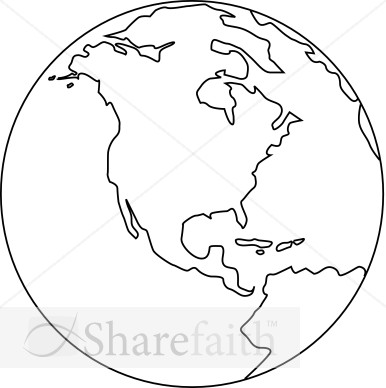 Line Art Globe Black And White Peace Clipart