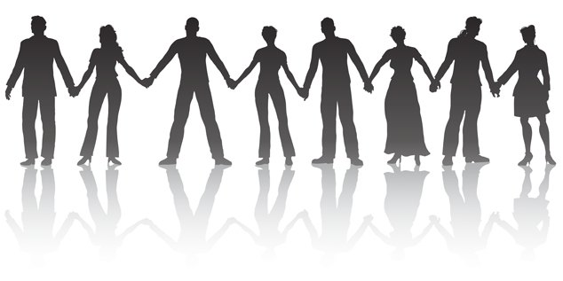 Line People Holding Hands