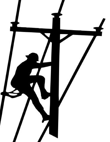 Lineman Climbing Pole Vinyl Decal