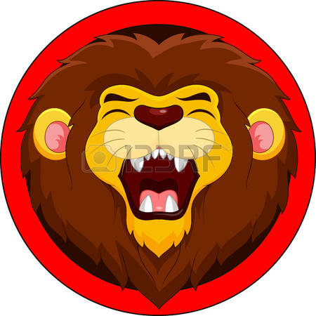 lion face: Cartoon lion roaring Illustration