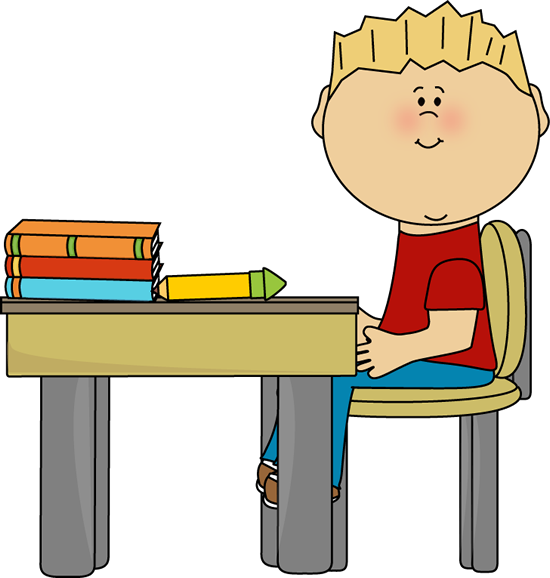 Little Boy at School Desk