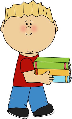 Little Boy Carrying a Stack of Books Clip Art - Little Boy