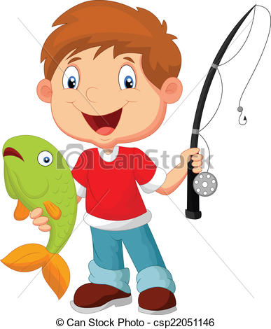 ... Little boy fishing - vector illustration of Little boy.