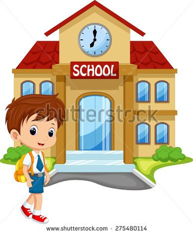 Little boy going to school .