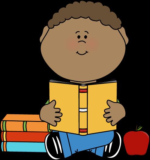 Little Boy Reading a School Book Clip Art