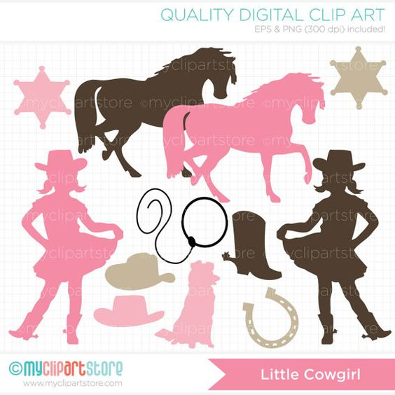 Little Cowgirl Silhouette Clip Art / Dig-Little Cowgirl Silhouette Clip Art / Digital by MyClipArtStore, $3.99-10