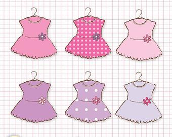 Little Dresses Clip Art - Digital Files PNG and JPEG / Clipart / Childu0026#39;s Dress Clipart