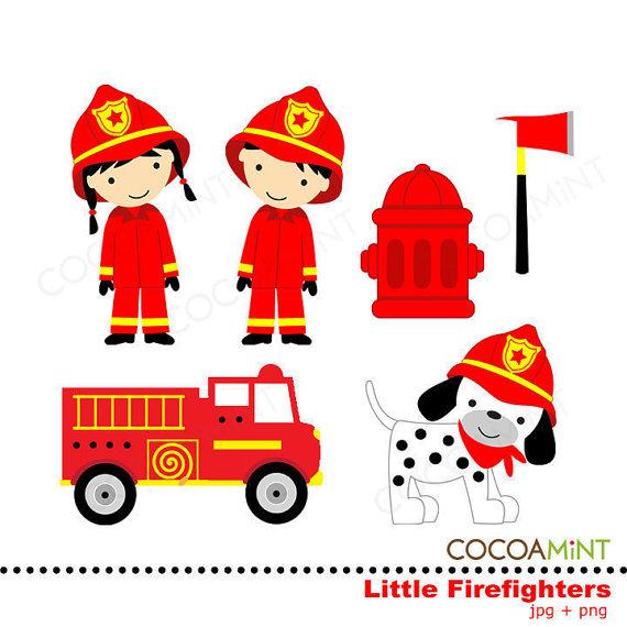 Little Firefighters Clipart