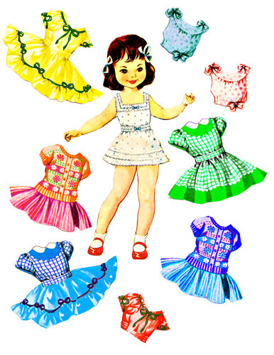 Little Girl Paper Doll Clothes Set Clip -Little girl paper doll clothes set clip art collage sheet digital graphics childrens craft printables-10