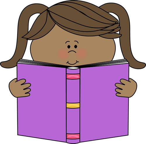 Little Girl Reading a Book Cl - Reading Books Clipart