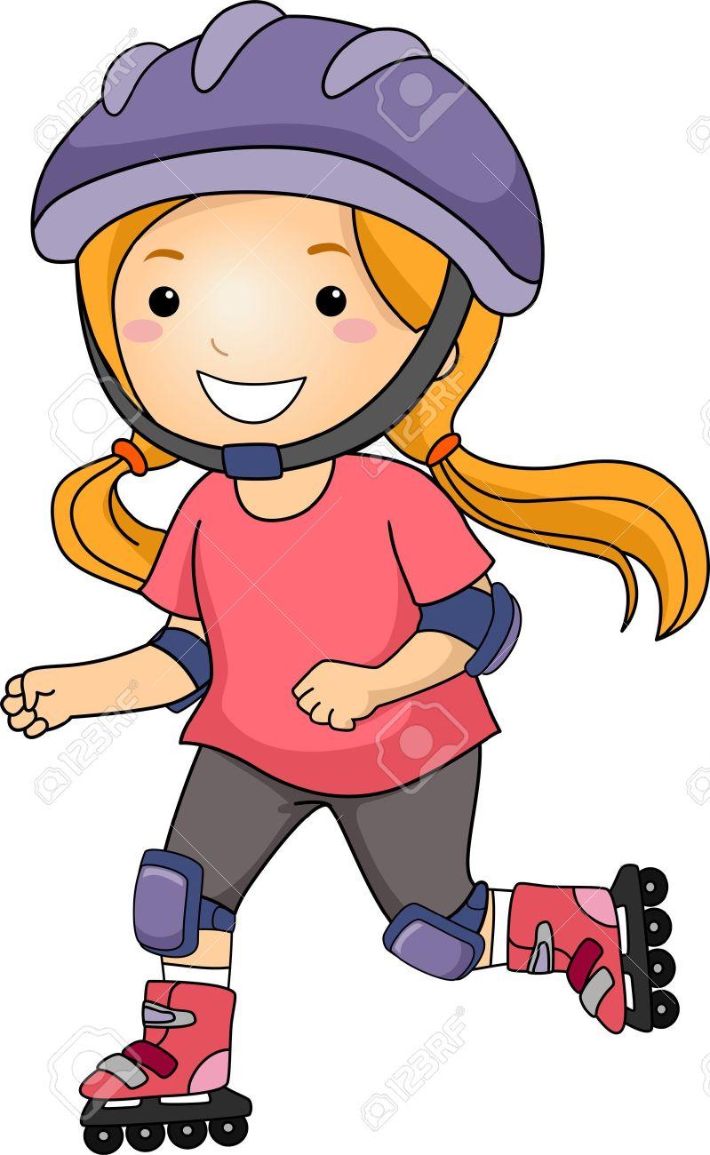 Little Girl Roller Blading .