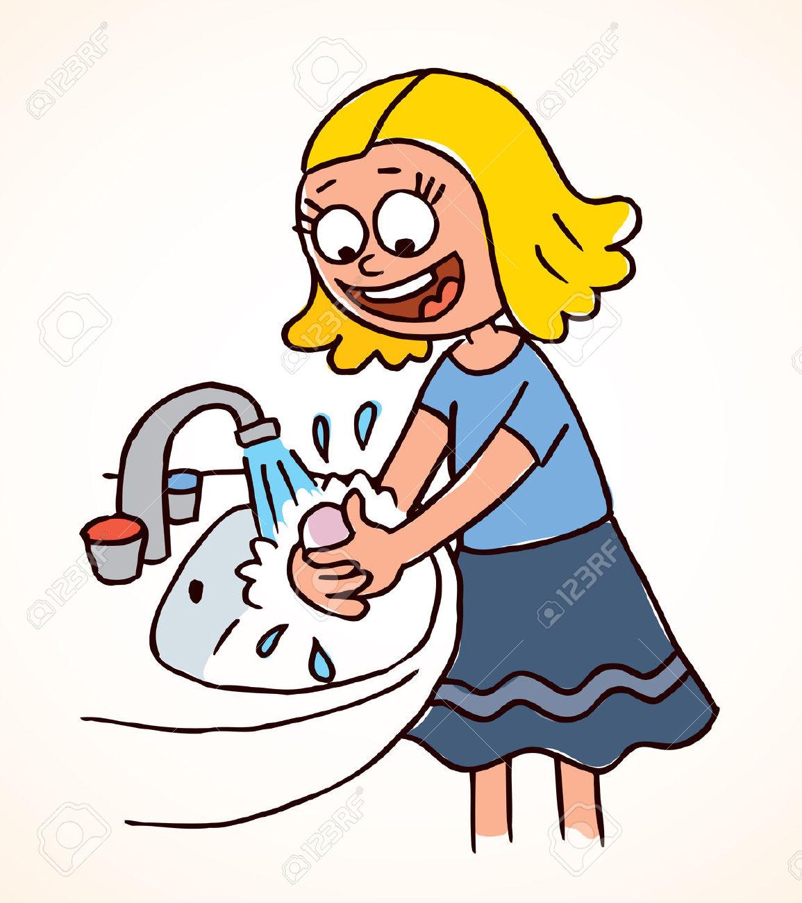 Little Girl Washing Hands .-little girl washing hands .-9