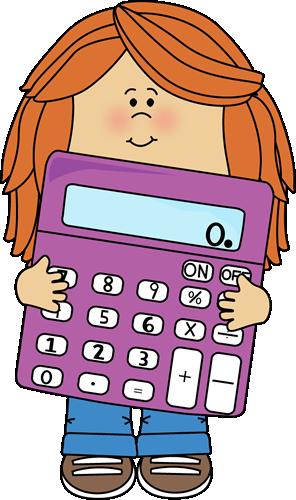 Little Girl with Big Purple Calculator