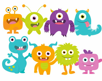 Little Monster Clip Art / Little Monster Clipart / Cute Monster Clipart / Cute Monster Clip Art / Monster Clipart / Monster Clip Art