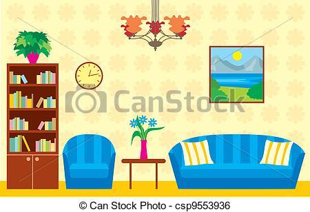 ... Living Room - Vector Illustration, C-... Living room - Vector illustration, color full-15