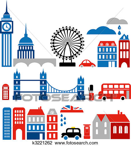 Clipart - Vector illustration of London landmarks. Fotosearch - Search Clip  Art, Illustration Murals