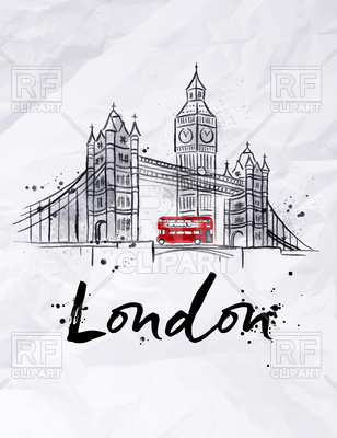 London poster with Tower Bridge, Big Ben and double-decker on crumpled  paper, ClipartLook.com