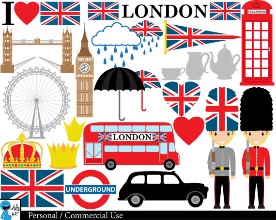 London UK - Set Clipart - Digital Clip Art Graphics, Personal, Commercial  Use - 45 PNG images (00151)