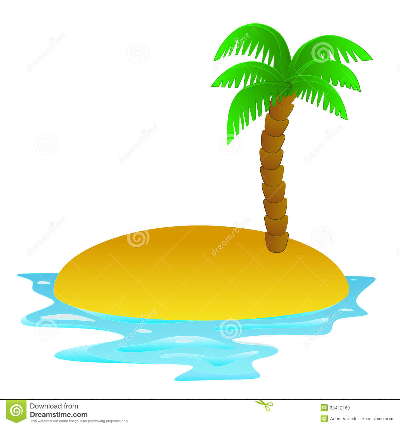 Lonely Tropical Sandy Island Clip Art Il-Lonely Tropical Sandy Island Clip Art Illustration-13