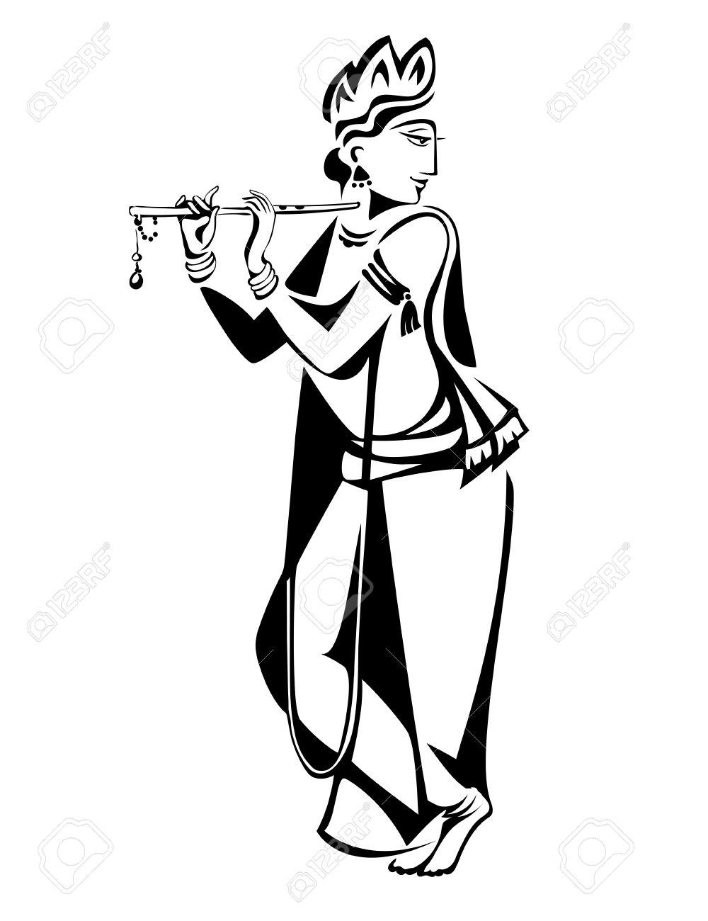 Lord Krishna Plays His Flute Stock Vector - 51861582