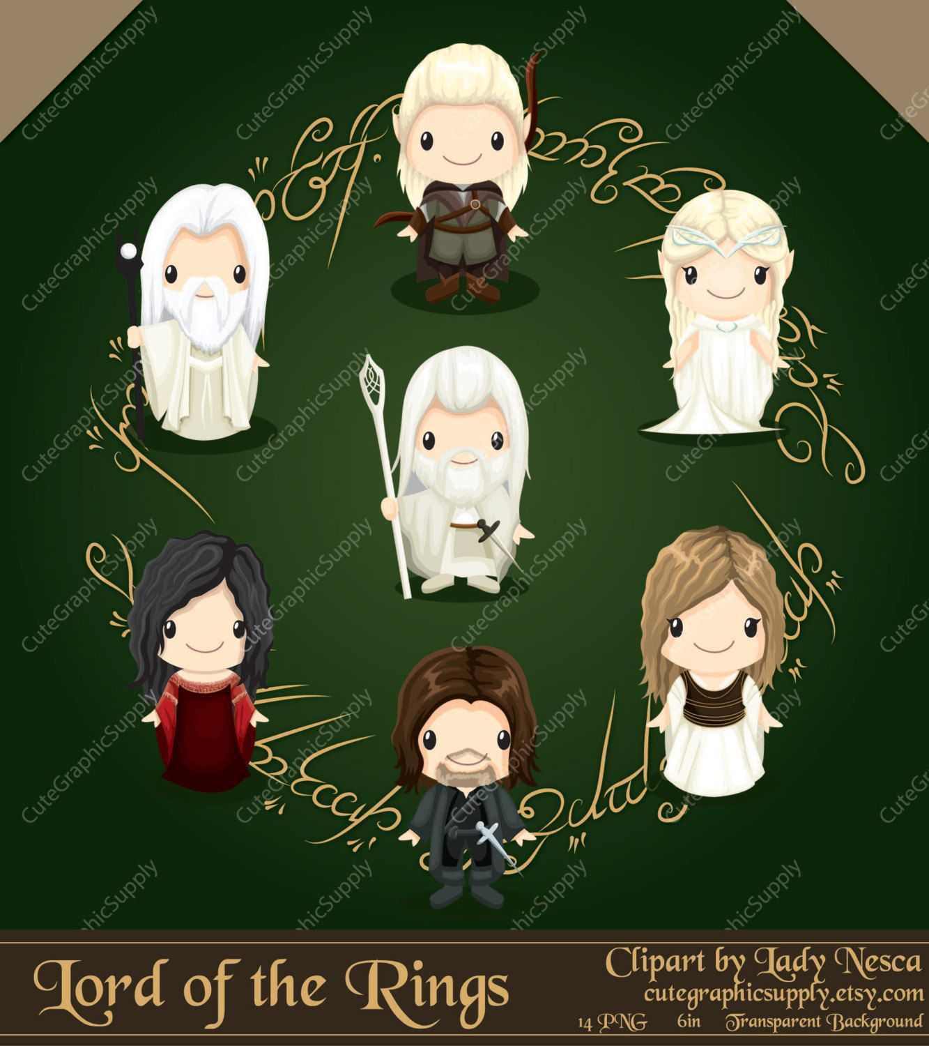 Lord of the Rings inspired clipart hobbit by CuteGraphicSupply