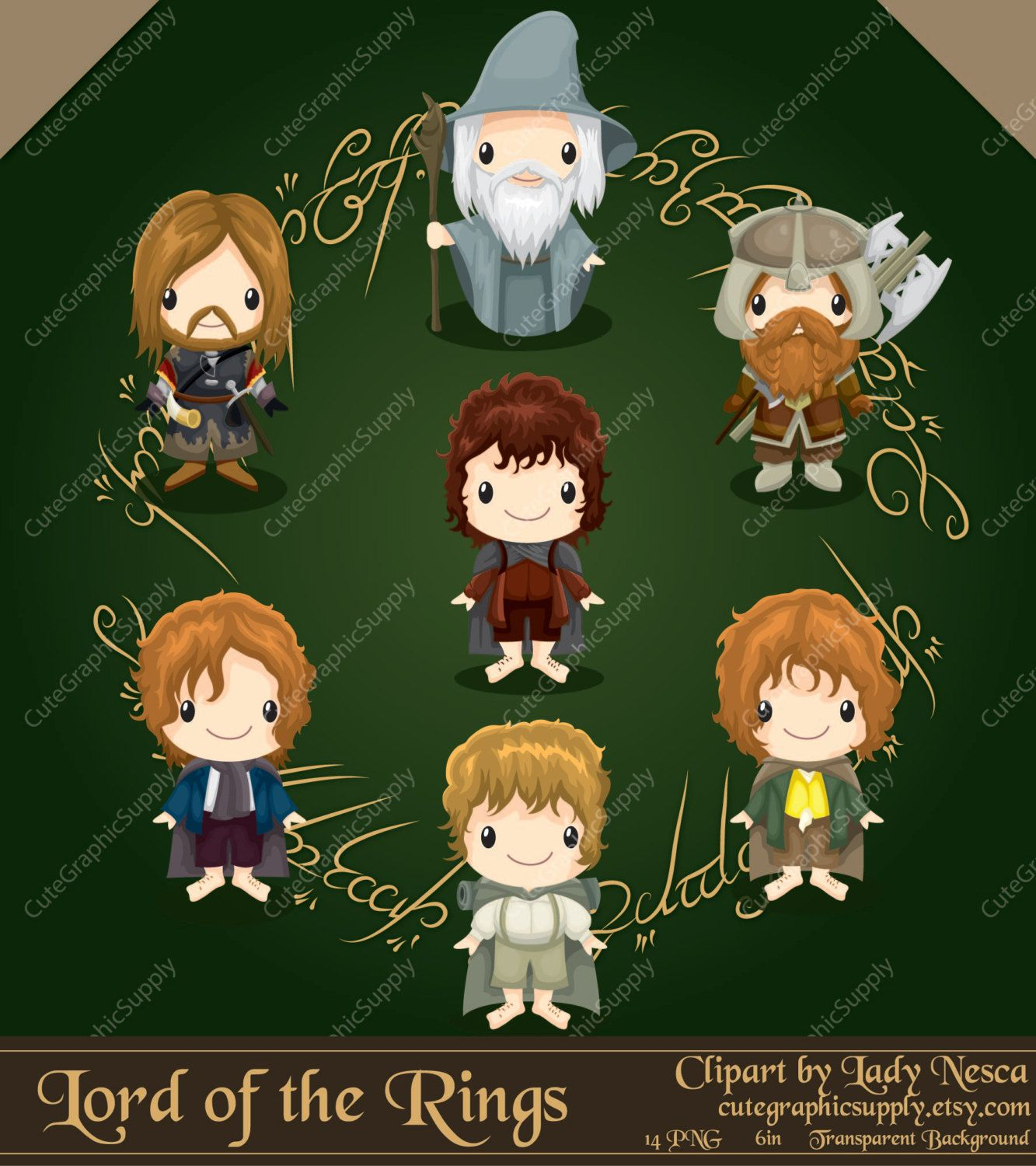 Lord of the Rings inspired clipart, hobbit clipart, elf clipart,  fellowship, Lord of the Rings, LOTR clipart -LN090-
