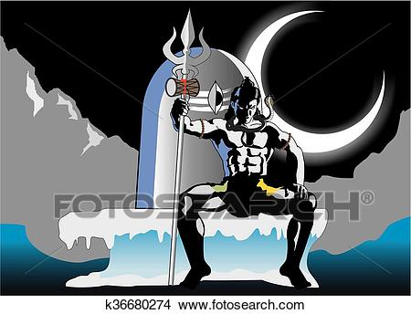 Clipart - Lord Shiva Sitting on Shivling. Fotosearch - Search Clip Art,  Illustration Murals