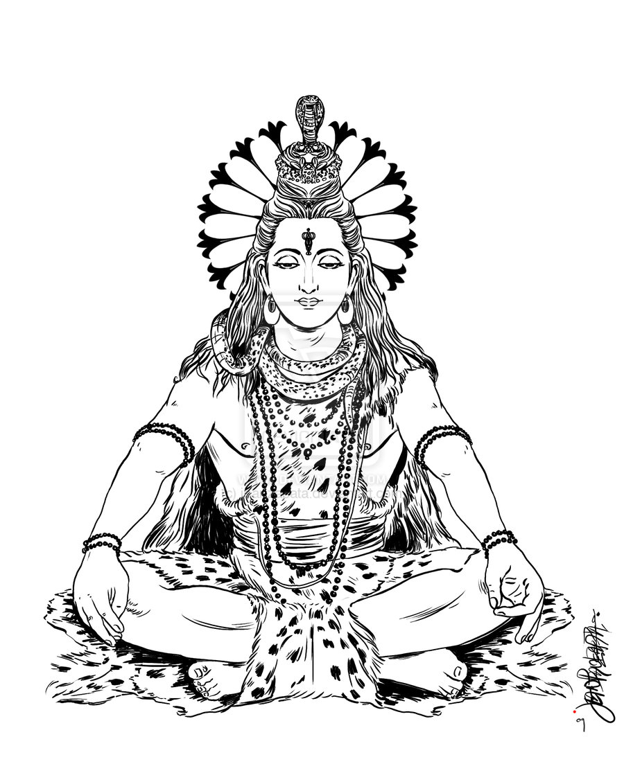 Drawing Of Lord Shiva And Paa - Lord Shiva Clipart