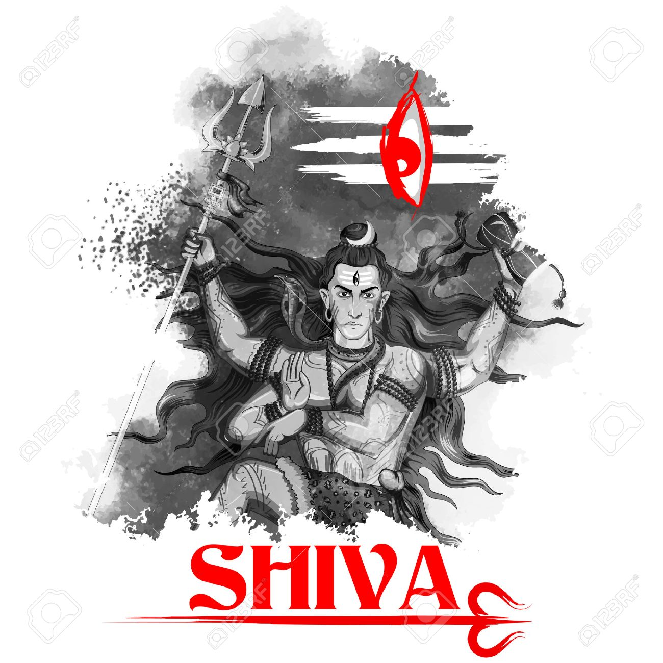 illustration of Lord Shiva, Indian God of Hindu Stock Vector - 53412093