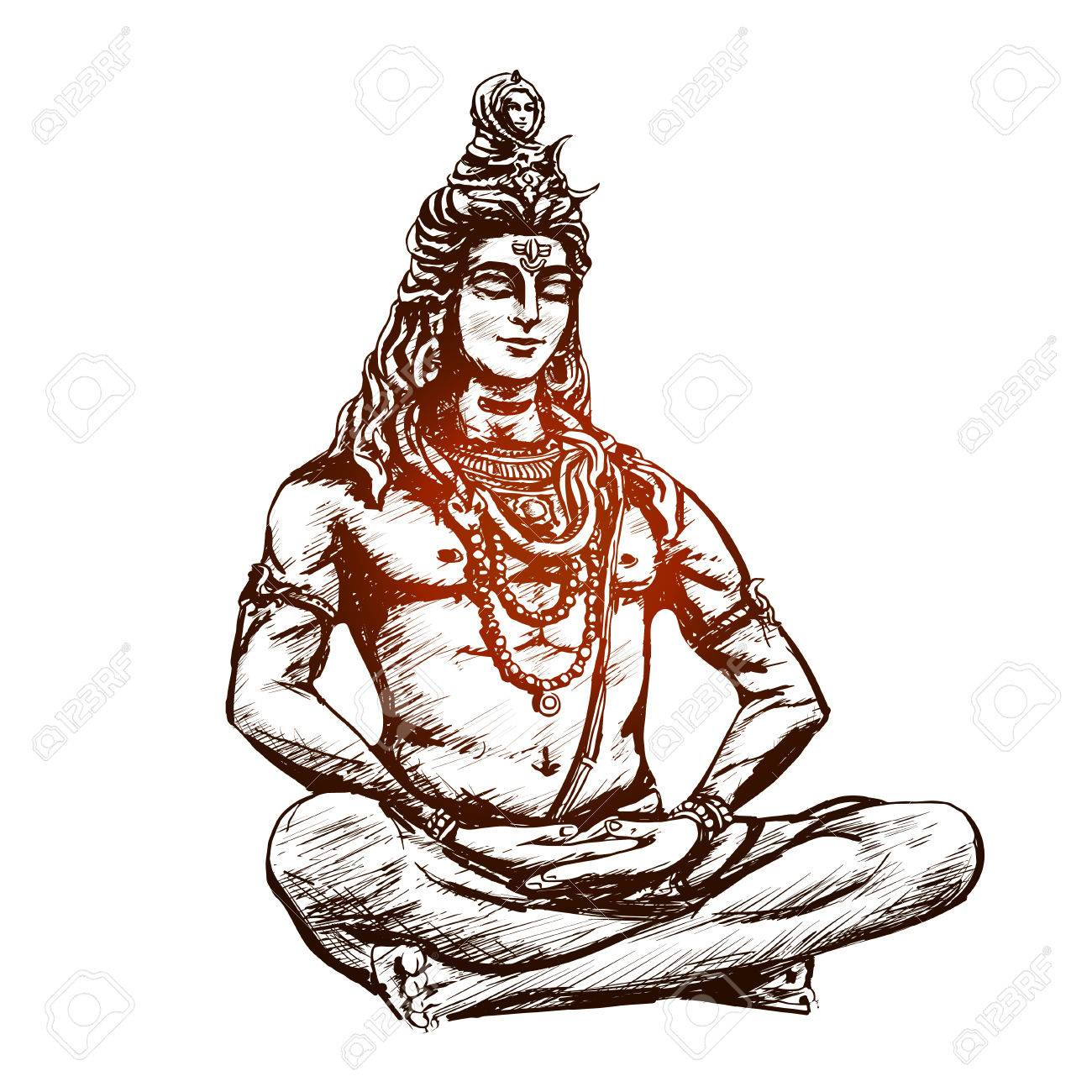 Lord Shiva in the lotus position and meditate. Om Namah Shivaya. Black and  white