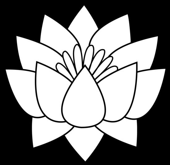 Lotus Flower Line Art - Free Clip Art