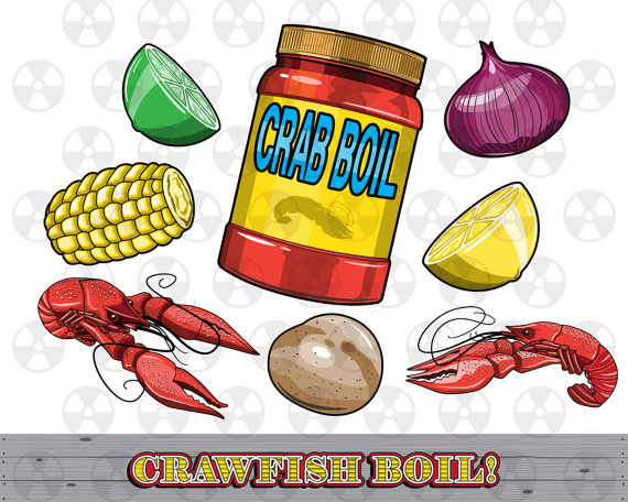Louisiana Vector Clipart, Crawfish Boil Clipart, Crawfish Digital Cartoon, Seafood Clipart, Scrapbook