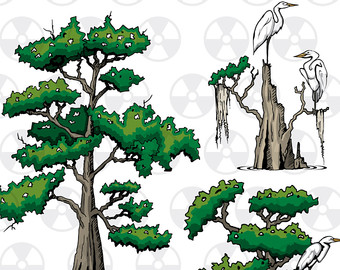 Louisiana Vector Clipart, Cypress Clipart, Egrets Clipart, Bird Clipart, Scrapbook Making, Instant Download