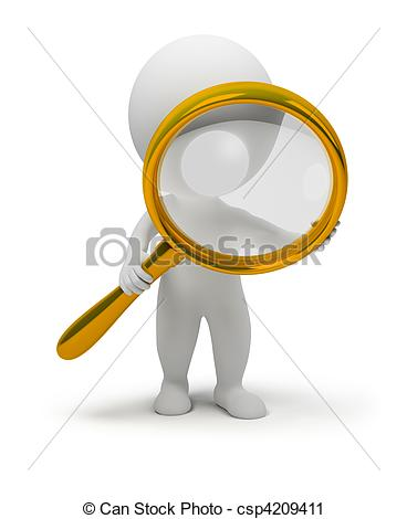 3d small people with a magnifier - csp4209411
