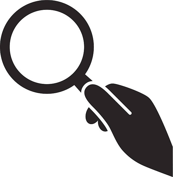 hand with magnifying glass icon vector art illustration