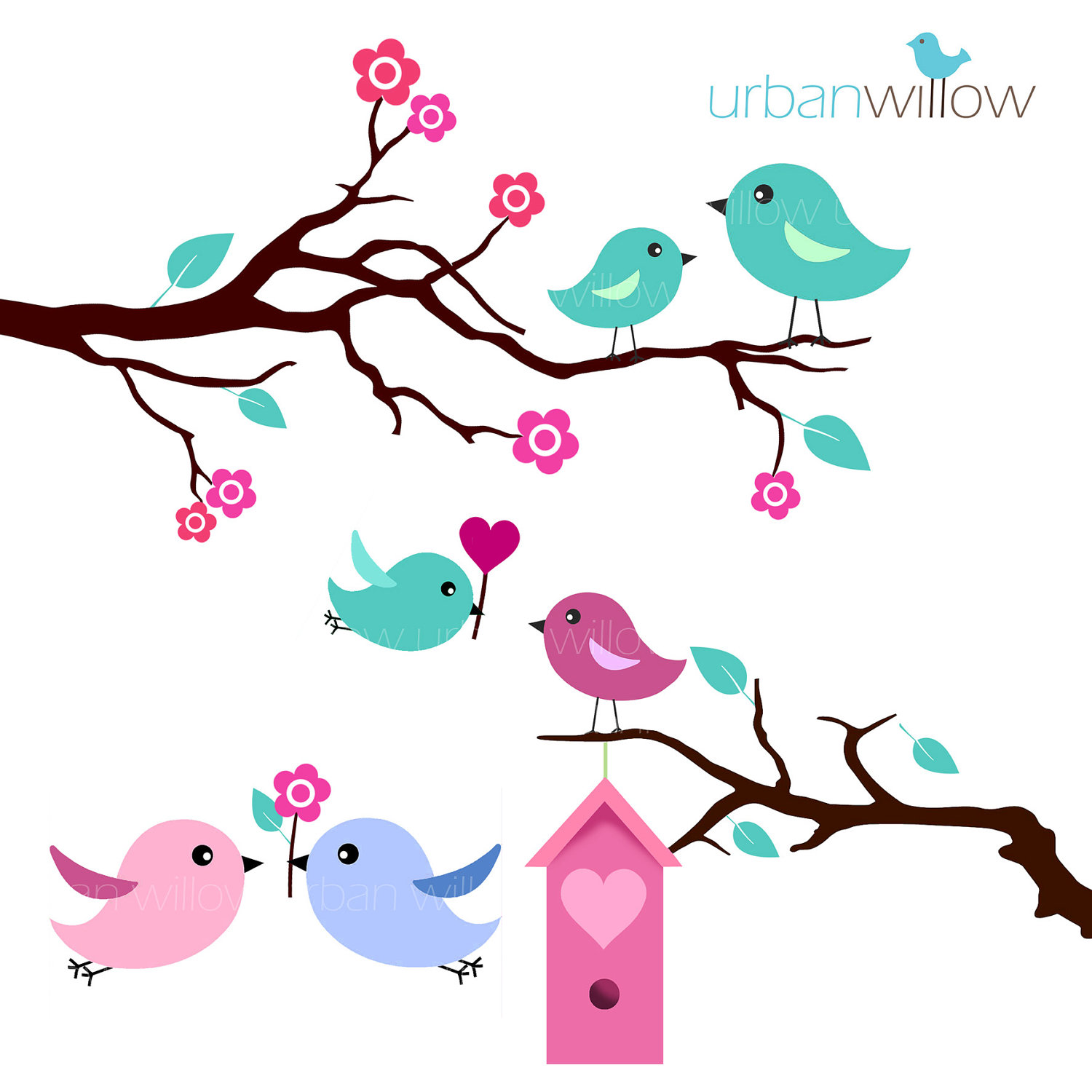 Vintage Love Bird Clipart #1 - Love Birds Clipart