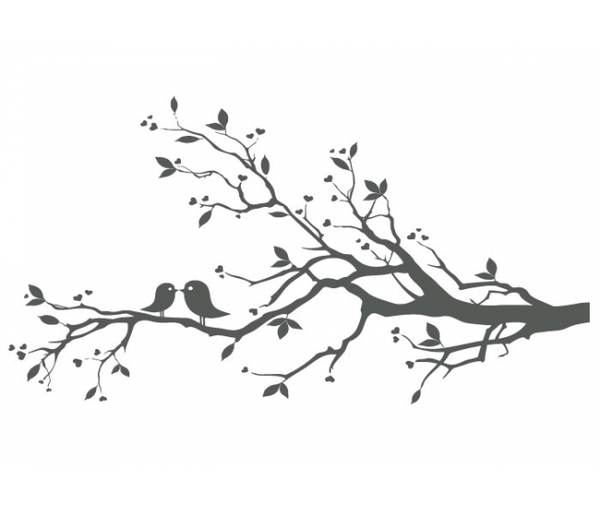 Love Birds In Tree Clipart