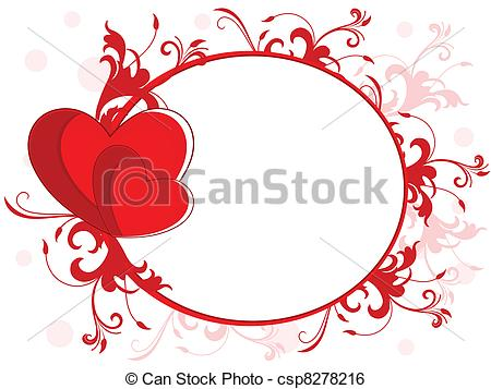 Abstract love frame made with red heart, floral and copy space on seamless  floral background