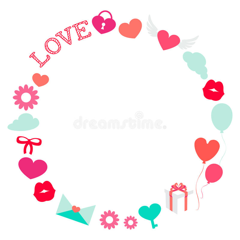 Download Valentine Day Romantic Love Round Frame Flat Stock Vector -  Illustration of flower, banner