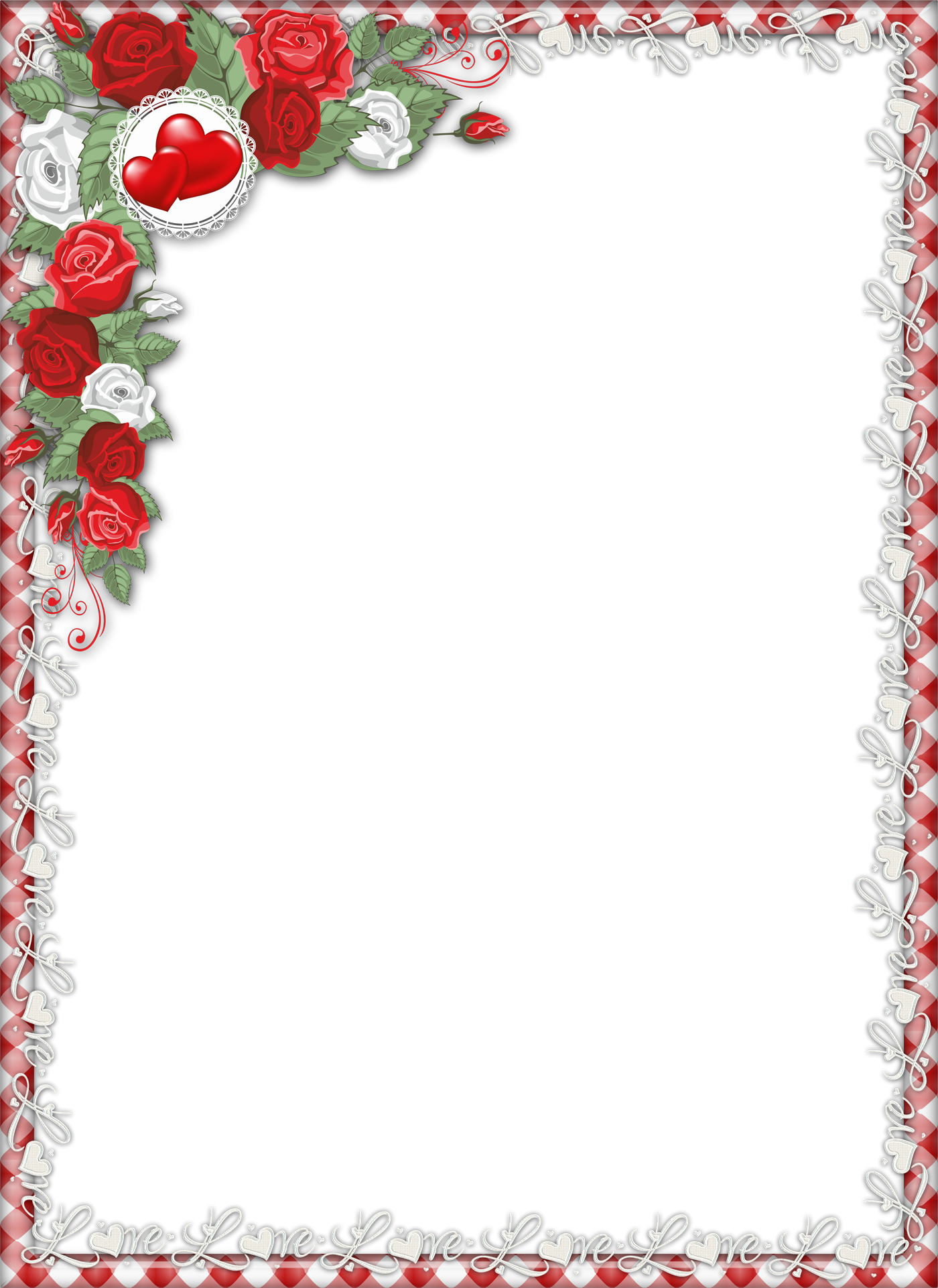 Red Love PNG Transparent Frame with Roses | Gallery Yopriceville -  High-Quality Images and Transparent PNG Free Clipart