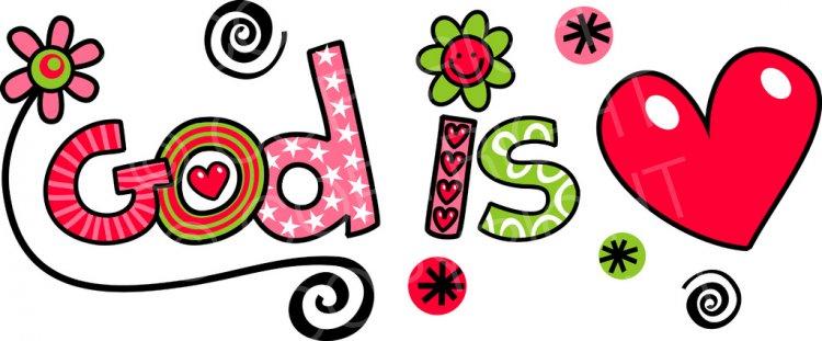 God is Love - Christian Text Doodle Clip Art