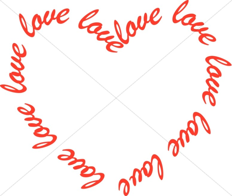 Heart Shaped with Love Text