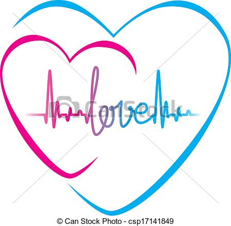 Heartbeat love text and heart symbol - csp17141849