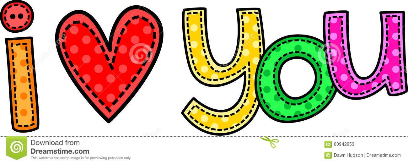I Love You Stitch Text stock illustration. Illustration of doodle - 60942953