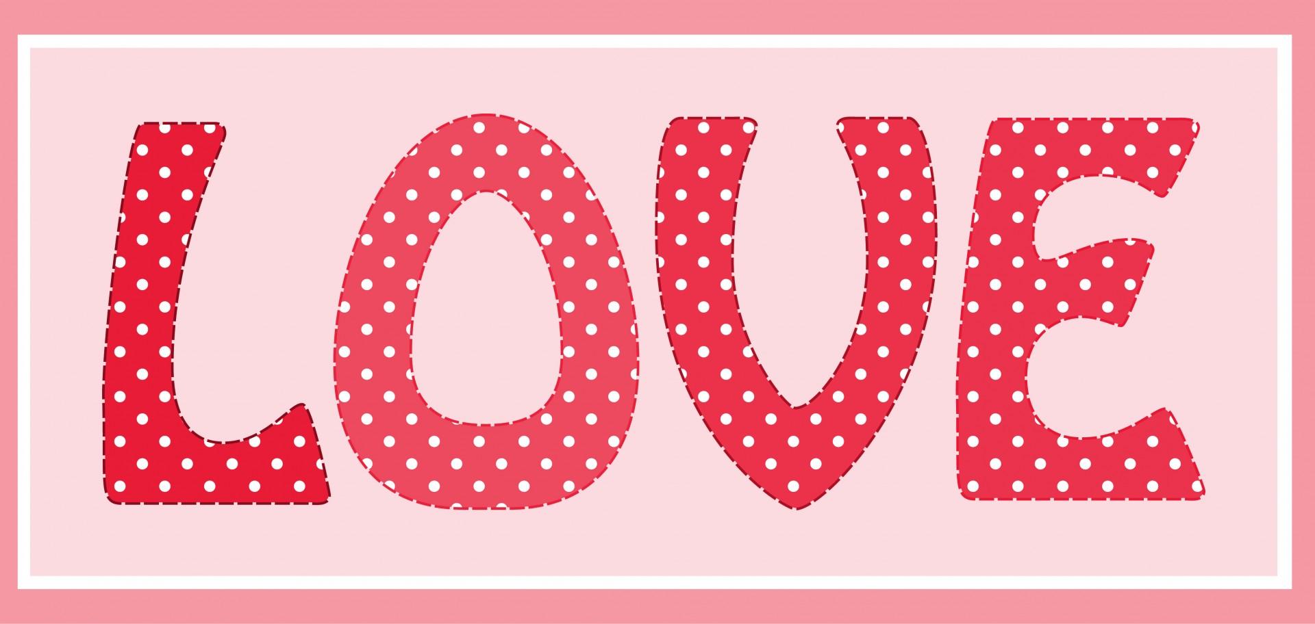 Love Pink Polka Dots Text