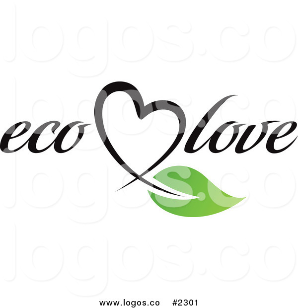 Royalty Free Eco Love Text with Heart and Leaf Logo