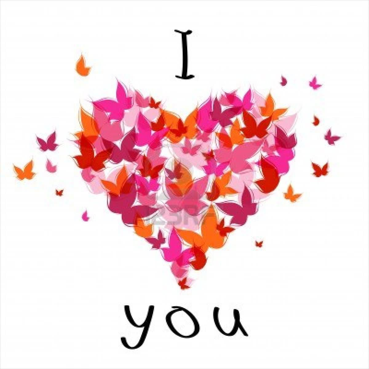 Love You Heart Of Butterflies Animated Graphic