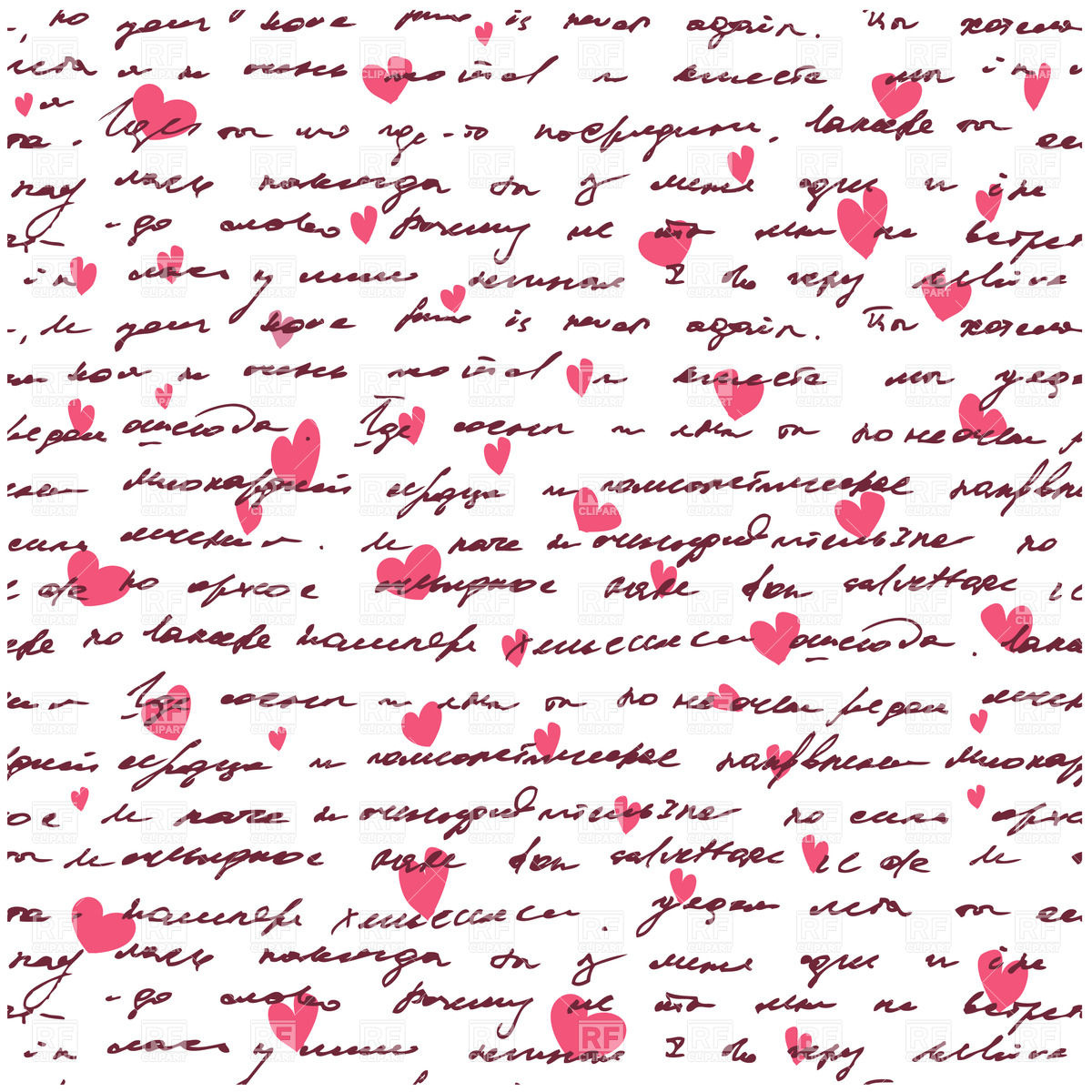 love letter seamless background with handwritten text and hearts .