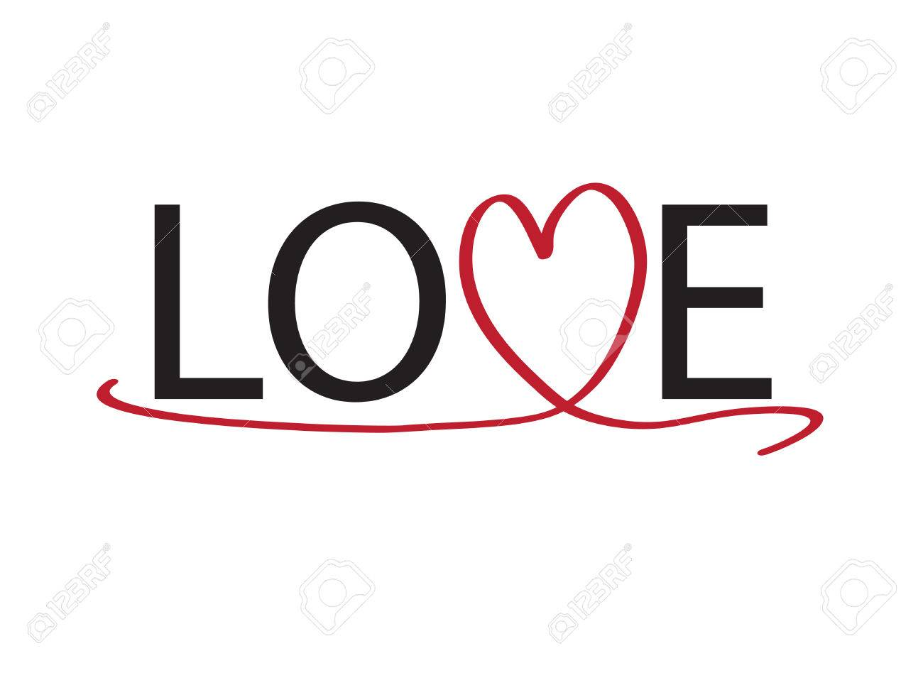Love Text with Heart Ribbon Stok Fotoğraf - 65494736